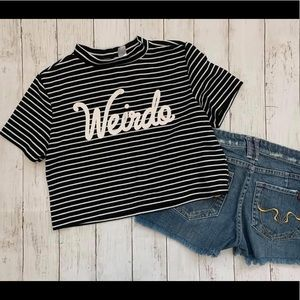 Weirdo graphic striped cropped top